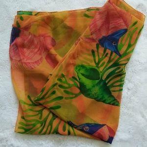 Hawaiian Tropical Sheer Fish Print Scarf Wrap